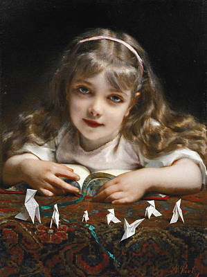 Painting - A Young Girl With Origami Birds by Etienne Adolphe Piot