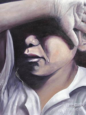 Crying Boy Painting - A Young Heart's Prayer by Penny Neimiller