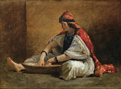 Isidore Pils Painting - A Young Kabylian Woman Preparing Couscous by Isidore Pils