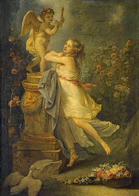 Painting - A Young Lady Before A Statue Of Cupid by Attributed to Antoine-Francois Callet