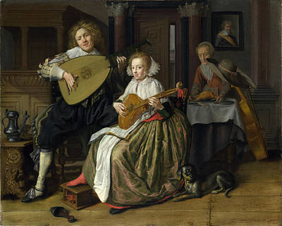 Symphony Painting - A Young Man And Woman Making Music by Celestial Images