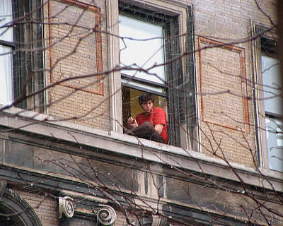 Photograph - A Young Man In A Second Floor Window by Stan  Magnan