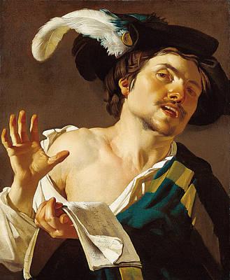 Painting - A Young Man Singing by Dirck van Baburen