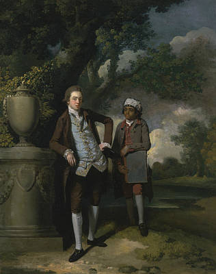 Painting - A Young Man With His Indian Servant Holding A Portfolio by John Hamilton Mortimer