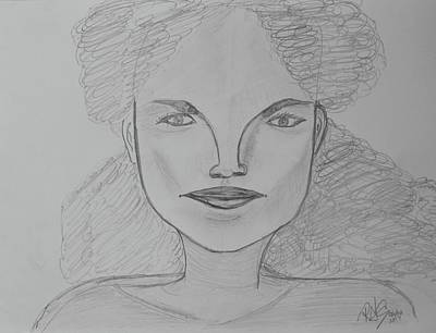 Drawing - A Young Model by Roger Cummiskey