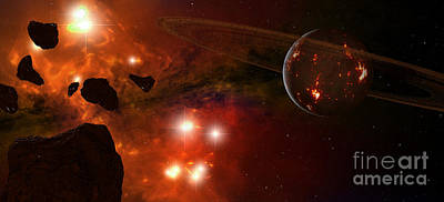 Cosmology Digital Art - A Young Ringed Planet With Glowing Lava by Frieso Hoevelkamp