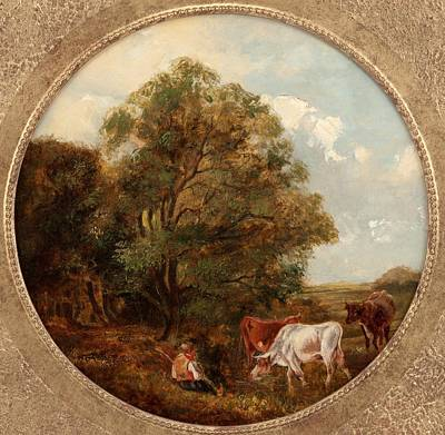 English School Painting - A Young Shepherd by Celestial Images