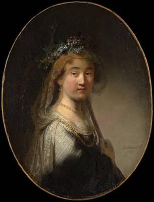 Saskia Painting - A Young Woman As A Shepherdess Saskia As Flora by Govert Flinck