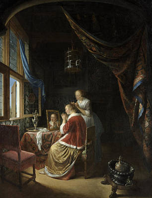 Dow Painting - A Young Woman At Her Toilet by Gerrit Dou
