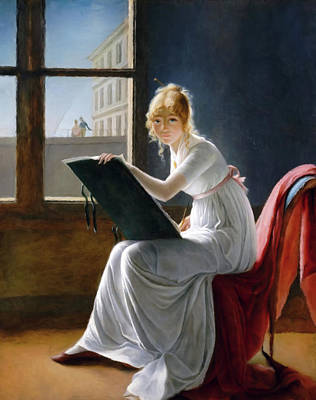 A Young Woman Drawing  Art Print