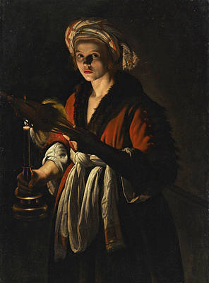 Distaff paintings fine art america distaff painting a young woman holding a distaff before a lit candle by adam de sciox Gallery