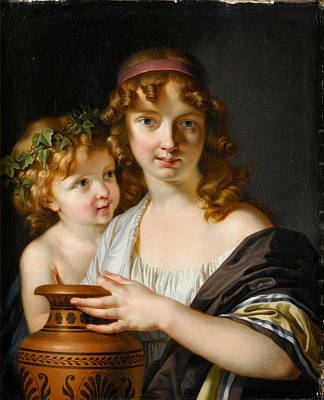 Painting - A Young Woman Holding An Urn With A Bacchante by Adolf Ulrik Wertmueller