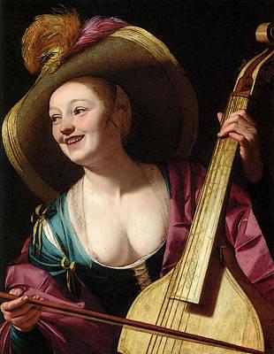 Digital Art - A Young Woman Playing A Viola Da Gamba by Gerrit van Honthorst