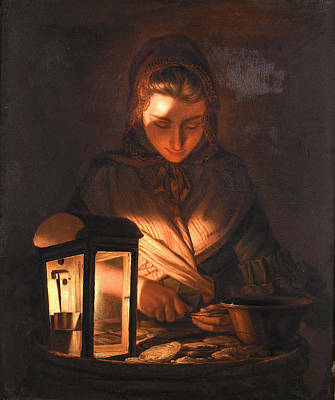 Painting - A Young Woman Shucking Oysters By Lamplight by Henry Robert Morland