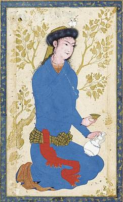 Persian Miniature Painting - A Youth With Bottle And Cup by  Reza-i 'Abbasi