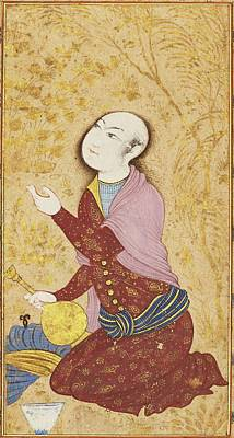 Persia Painting - A Youth With Bottle Sitting In A Garden by Eastern Accents