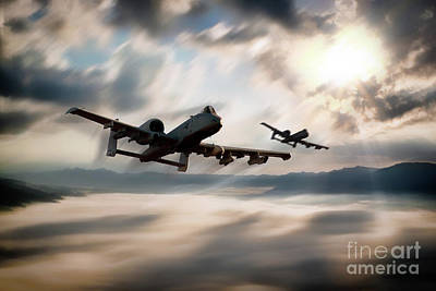 Usaf Digital Art - A10 Mountain Mission by J Biggadike