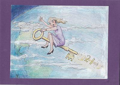 Drawing - Flying Free by Charles Cater