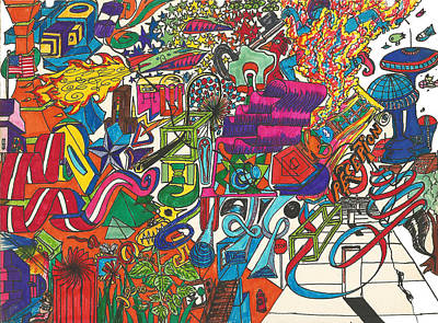 Trippy Maze Art Drawing - A4_mind Maze by Matthew Pinkey