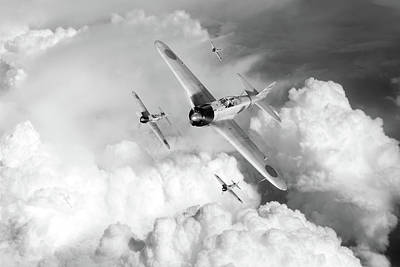 Photograph - A6m Zero Fighters Bw Version by Gary Eason