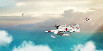 Digital Art - A6m2-n Sea Plane by John Wills