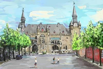 Digital Art - Aachen Town Hall by Mandy Tabatt