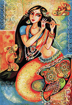 Dancing Girl Painting - Aanandinii And The Fishes by Eva Campbell