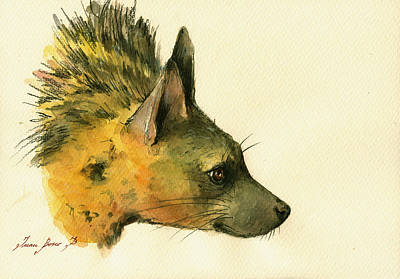 Spotted Painting - Aardwolf Hyena Animal Art by Juan  Bosco