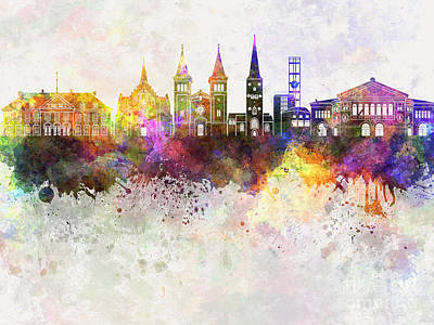 Aarhus Painting - Aarhus Skyline In Watercolor Background by Pablo Romero