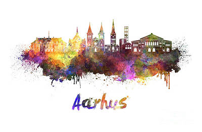 Aarhus Painting - Aarhus Skyline In Watercolor by Pablo Romero