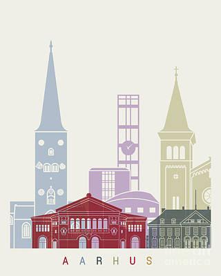 Aarhus Painting - Aarhus Skyline Poster by Pablo Romero