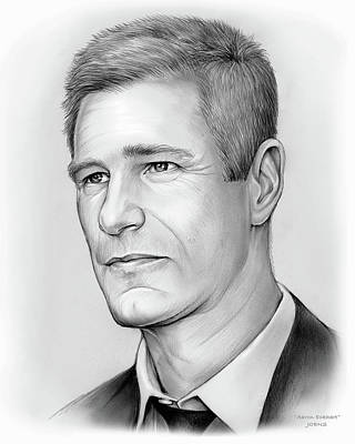 Los Angeles Drawing - Aaron Eckhart by Greg Joens