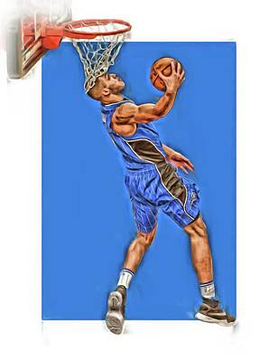 Mixed Media - Aaron Gordon Orlando Magic Oil Art by Joe Hamilton