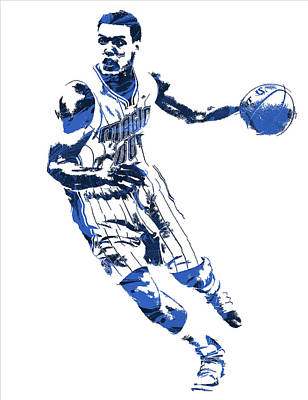 Magician Mixed Media - Aaron Gordon Orlando Magic Pixel Art 1 by Joe Hamilton