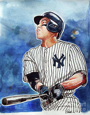 Baseball Art Drawing - Aaron Judge by Dave Olsen