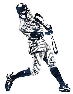 New York Yankees Wall Art - Mixed Media - Aaron Judge New York Yankees Pixel Art 1 by Joe Hamilton