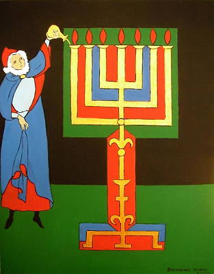 Painting - Aaron Lighting The Menorah by Stephanie Moore