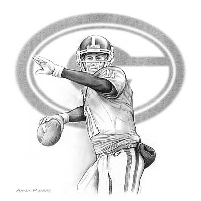 Football Drawing - Aaron Murray by Greg Joens