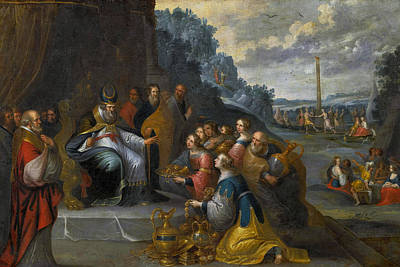 Painting - Aaron Receiving Gold From The Israelites by Workshop of Frans Francken the Younger