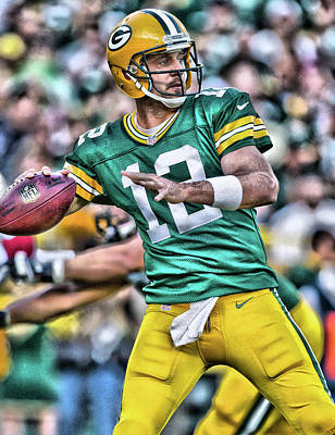Football Painting - Aaron Rodgers Art 3 by Joe Hamilton