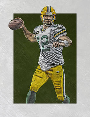 Football Mixed Media - Aaron Rodgers Green Bay Packers Art 4 by Joe Hamilton