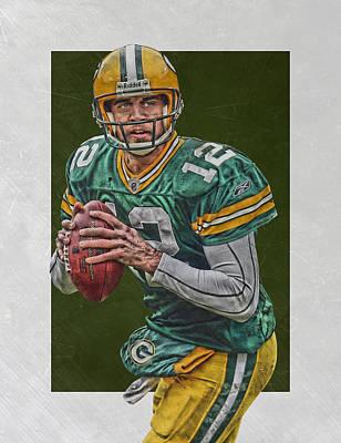 Mixed Media - Aaron Rodgers Green Bay Packers Art 5 by Joe Hamilton