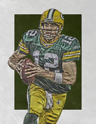 Mixed Media - Aaron Rodgers Green Bay Packers Art by Joe Hamilton