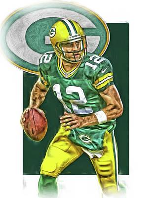 Mixed Media - Aaron Rodgers Green Bay Packers Oil Art 2 by Joe Hamilton