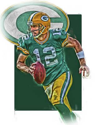 Mixed Media - Aaron Rodgers Green Bay Packers Oil Art by Joe Hamilton