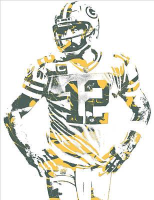 Mixed Media - Aaron Rodgers Green Bay Packers Pixel Art 20 by Joe Hamilton