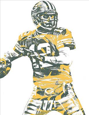 Mixed Media - Aaron Rodgers Green Bay Packers Pixel Art 21 by Joe Hamilton