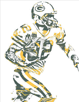 Mixed Media - Aaron Rodgers Green Bay Packers Pixel Art 22 by Joe Hamilton