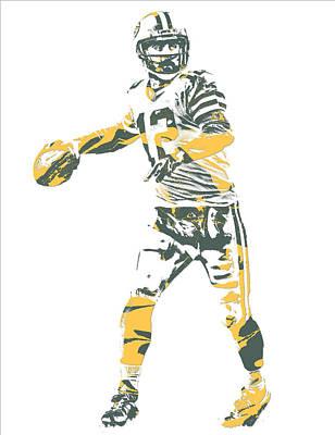 Mixed Media - Aaron Rodgers Green Bay Packers Pixel Art 23 by Joe Hamilton