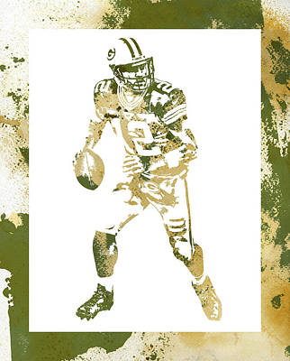 Mixed Media - Aaron Rodgers Green Bay Packers Water Color Art 1 by Joe Hamilton